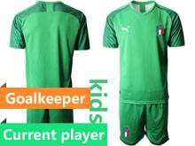 Kids Soccer Italy National Team Current Player Light Green 2020 European Cup Goalkeeper Short Sleeve Suit Jersey