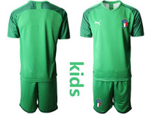 Kids Soccer Italy National Team ( Custom Made ) Light Green 2020 European Cup Goalkeeper Short Sleeve Suit Jersey