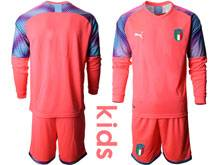 Kids Soccer Italy National Team ( Custom Made ) Pink 2020 European Cup Goalkeeper Long Sleeve Suit Jersey