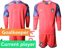 Kids Soccer Italy National Team Current Player Pink 2020 European Cup Goalkeeper Long Sleeve Suit Jersey