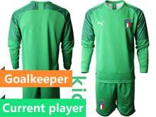 Kids Soccer Italy National Team Current Player Light Green 2020 European Cup Goalkeeper Long Sleeve Suit Jersey