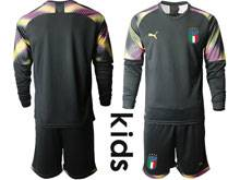 Kids Soccer Italy National Team ( Custom Made ) Black 2020 European Cup Goalkeeper Long Sleeve Suit Jersey