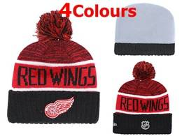 Mens Nhl Detroit Red Wings Red&black&white New Sport Knit Hats 4 Colors