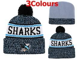 Mens Nhl San Jose Sharks Blue&white Sport Knit Hats 3 Colors