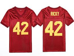 Mens Nfl #42 Ricky Baker  Boyz N The Hood Retro Movie Stitched Red  Football Jersey