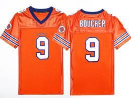 Mens Nfl #9 Bobby Boucher The Waterboy Adam Sandler Movie Stitched Orange Football Jersey