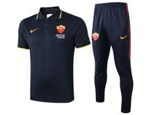 Mens 19-20 Soccer As Roma Club Dark Blue Polo Shirt And Dark Blue Sweat Pants Training Suit