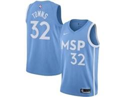 Mens 2019-20 Nba Minnesota Timberwolves Custom Made Blue City Edition Nike Swingman Jersey