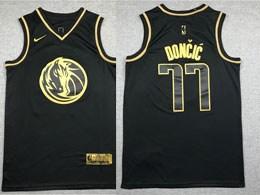 Mens 2019-20 Nba Dallas Mavericks #77 Luka Doncic Black Gold Collection Limited Edition Jersey