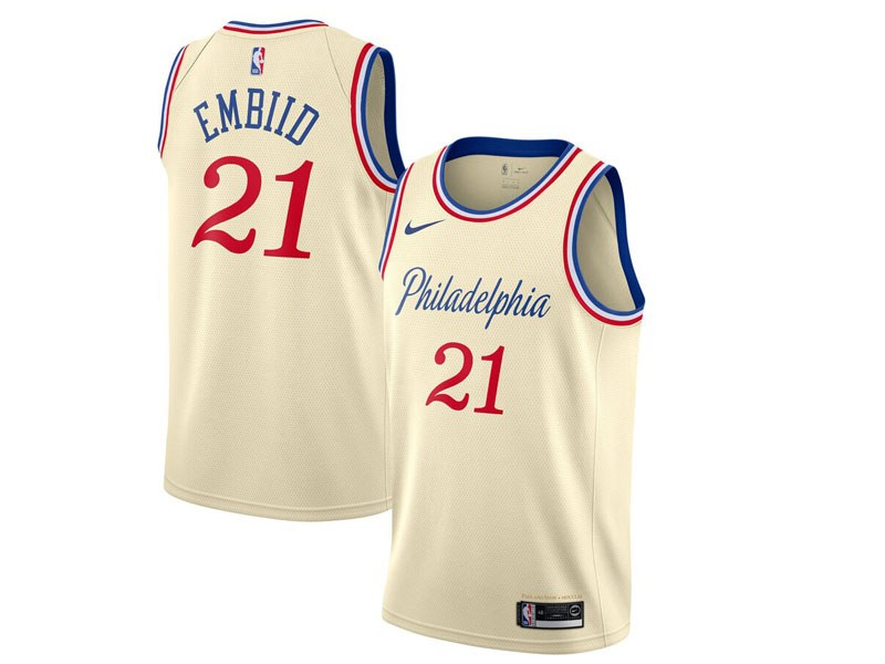 Mens 2019-20 Nba Philadelphia 76ers #21 Joel Embiid Cream Nike City Edition Jersey