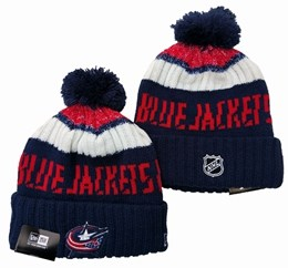 Mens Nhl Columbus Blue Jackets Blue&white&red Sport Knit Hats