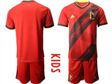 Kids 19-20 Soccer Belgium National Team ( Custom Made ) Red Eurocup 2020 Home Short Sleeve Suit