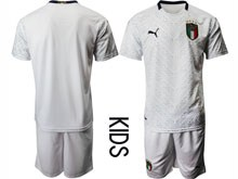 Kids Soccer Italy National Team ( Custom Made ) White 2020 European Cup Away Short Sleeve Suit Jersey