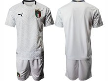 Mens Soccer Italy National Team ( Custom Made ) White 2020 European Cup Away Short Sleeve Suit Jersey