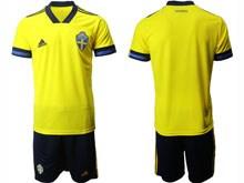 Mens Soccer Switzerland National Team ( Custom Made ) Yellow Eurocup 2020 Away Short Sleeve Suit Jersey