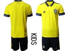 Kids Soccer Switzerland National Team ( Custom Made ) Yellow Eurocup 2020 Away Short Sleeve Suit Jersey