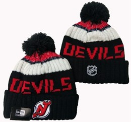 Mens Nhl New Jersey Devils Red&black&white Sport Knit Hats