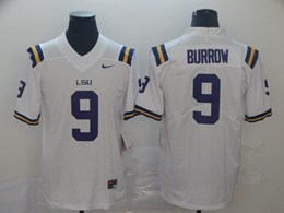 Mens Ncaa Nfl Lsu Tigers #9 Burrow White Vapor Untouchable Limited Nike Jersey
