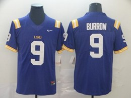 Mens Ncaa Nfl Lsu Tigers #9 Burrow Purple Vapor Untouchable Limited Nike Jersey