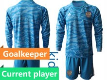 Kids Soccer Russia National Team Current Player Blue Goalkeeper 2020 European Cup Long Sleeve Suit Jersey