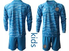Kids Soccer Russia National Team Current Player Blue Goalkeeper 2020 European Cup Long Sleeve Suit Jersey