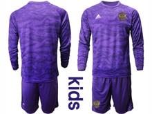 Kids Soccer Russia National Team ( Custom Made ) Purple Goalkeeper 2020 European Cup Long Sleeve Suit Jersey