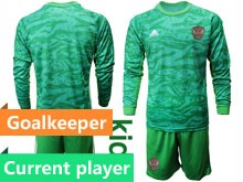 Kids Soccer Russia National Team Current Player Green Goalkeeper 2020 European Cup Long Sleeve Suit Jersey