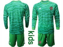 Kids Soccer Russia National Team ( Custom Made ) Green Goalkeeper 2020 European Cup Long Sleeve Suit Jersey
