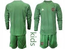 Kids Soccer Russia National Team ( Custom Made ) Dark Green Goalkeeper 2020 European Cup Long Sleeve Suit Jersey