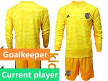 Kids Soccer Russia National Team Current Player Yellow Goalkeeper 2020 European Cup Long Sleeve Suit Jersey