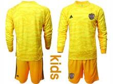 Kids Soccer Russia National Team ( Custom Made ) Yellow Goalkeeper 2020 European Cup Long Sleeve Suit Jersey