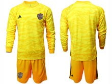 Mens Soccer Russia National Team ( Custom Made ) Yellow Goalkeeper 2020 European Cup Long Sleeve Suit Jersey