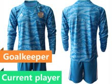 Mens Soccer Russia National Team Current Player Blue Goalkeeper 2020 European Cup Long Sleeve Suit Jersey
