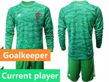 Mens Soccer Russia National Team Current Player Green Goalkeeper 2020 European Cup Long Sleeve Suit Jersey