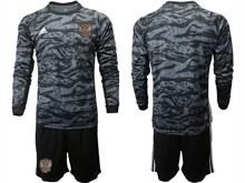 Mens Soccer Russia National Team ( Custom Made ) Black Goalkeeper 2020 European Cup Long Sleeve Suit Jersey