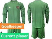 Mens Soccer Russia National Team Current Player Dark Green Goalkeeper 2020 European Cup Long Sleeve Suit Jersey