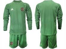 Mens Soccer Russia National Team ( Custom Made ) Dark Green Goalkeeper 2020 European Cup Long Sleeve Suit Jersey