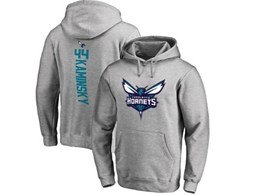 Mens Nba Charlotte Hornets #44 Kaminsky Gray Hoodie Jersey With Pocket