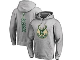 Mens Nba Milwaukee Bucks #6 Eric Bledsoe Gray Hoodie Jersey With Pocket