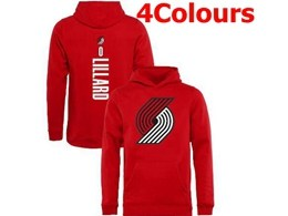 Mens Nba Portland Trail Blazers #0 Damian Lillard Hoodie Jersey With Pocket 4 Colors