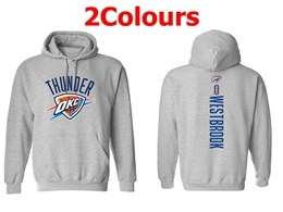 Mens Nba Oklahoma City Thunder #0 Russell Westbrook Hoodie Jersey With Pocket 2 Colors