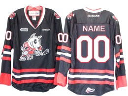 Mens Ahl Niagara Ice Dogs Custom Made Black Ccm Jersey