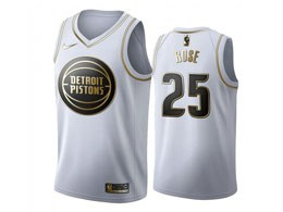 Mens 2019-20 Nba Detroit Pistons #25 Derrick Rose White Gold Nike Swingman Jersey