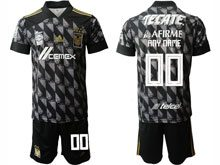 Mens 20-21 Soccer Tigres Uanl Club ( Custom Made ) Black Second Away Short Sleeve Suit Jersey