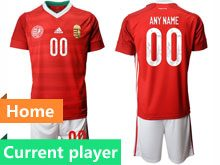Mens Soccer Hungary National Team Current Player Red Home 2020 European Cup Short Sleeve Suit Jersey