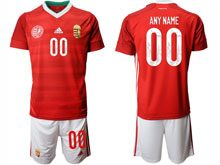 Mens Soccer Hungary National Team ( Custom Made ) Red Home 2020 European Cup Short Sleeve Suit Jersey