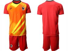 Mens 19-20 Soccer France National Team ( Custom Made ) Red Eurocup 2020 Goalkeeper Short Sleeve Suit