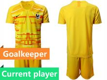 Mens 19-20 Soccer France National Team Current Player Yellow Eurocup 2020 Goalkeeper Short Sleeve Suit