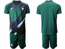 Mens 19-20 Soccer France National Team ( Custom Made ) Dark Green Eurocup 2020 Goalkeeper Short Sleeve Suit