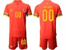 Mens Soccer Wales Natioal Team ( Custom Made ) Red 2020 European Cup Home Short Sleeve Suit Jersey